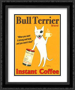 Bull Terrier Brand 2x Matted 15x18 Black Ornate Framed Art Print by Ken Bailey