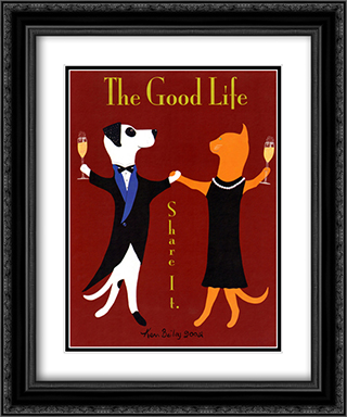 Good Life 2x Matted 15x18 Black Ornate Framed Art Print by Ken Bailey