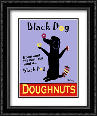 Black Dog Doughnuts 2x Matted 15x18 Black Ornate Framed Art Print by Ken Bailey