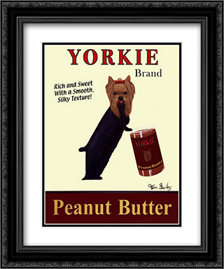 Yorkie Peanut Butter 2x Matted 16x19 Black Ornate Framed Art Print by Ken Bailey