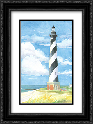 Lighthouse Cape Hatteras NC 2x Matted 16x19 Black Ornate Framed Art Print by Paul Brent