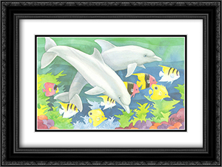 Dolphin Duo 2x Matted 19x16 Black Ornate Framed Art Print by Paul Brent