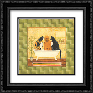 Three's A Crowd 2x Matted 12x12 Black Ornate Framed Art Print by Dotty Chase