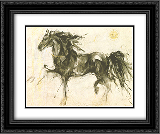 Lepa Zena 2x Matted 16x14 Black Ornate Framed Art Print by Marta Gottfried Wiley