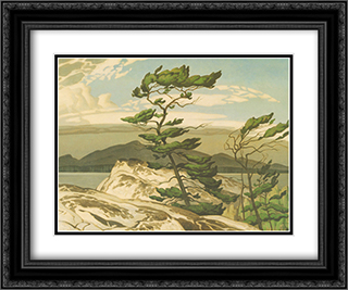 White Pine 2x Matted 16x14 Black Ornate Framed Art Print by A. J. Casson