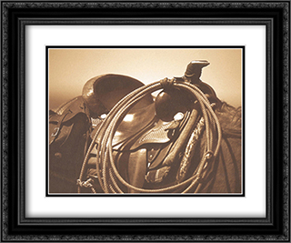Saddling 2x Matted 14x12 Black Ornate Framed Art Print by James O'Mara