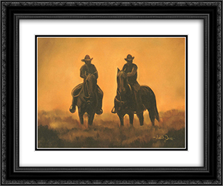 End of the Day 2x Matted 14x12 Black Ornate Framed Art Print by Judith Durr