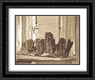 Resting 2x Matted 14x12 Black Ornate Framed Art Print by James O'Mara