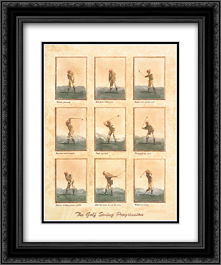 Golf Swing Progression(S) 2x Matted 15x19 Black Ornate Framed Art Print by David Nichols