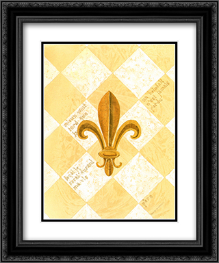 Fleur-De-Lis I(L) 2x Matted 15x18 Black Ornate Framed Art Print by David Nichols