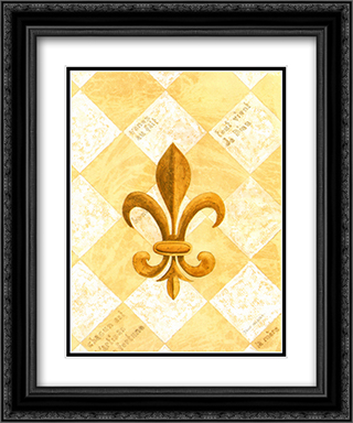Fleur-De-Lis IV(L) 2x Matted 15x18 Black Ornate Framed Art Print by David Nichols