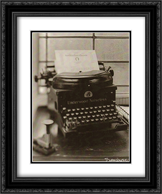 Typewriter 2x Matted 15x18 Black Ornate Framed Art Print by Wampler