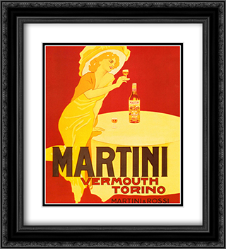 Martini & Rossi Vermouth Torino 2x Matted 15x18 Black Ornate Framed Art Print