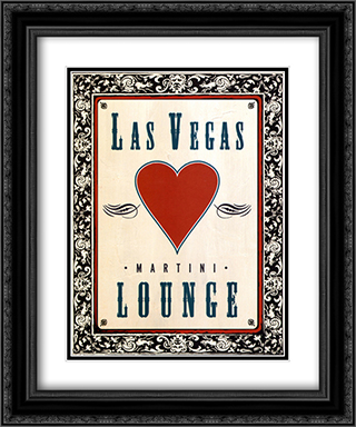 Martini Lounge 2x Matted 15x18 Black Ornate Framed Art Print