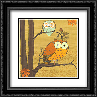Awesome Owls I 2x Matted 12x12 Black or Gold Ornate Framed Art Print by Paul Brent