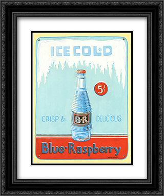 Blue Raspberry 2x Matted 15x18 Black Ornate Framed Art Print by Gregory Gorham