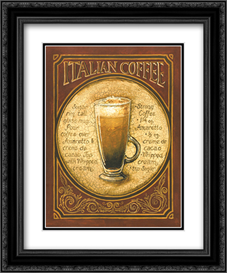 Italian Coffee 2x Matted 15x18 Black Ornate Framed Art Print by Gregory Gorham