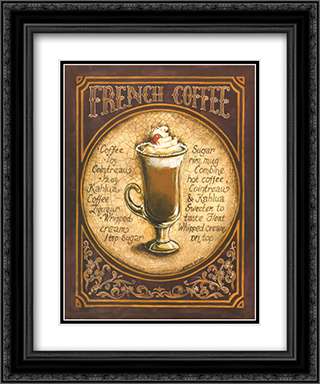 French Coffee 2x Matted 15x18 Black Ornate Framed Art Print by Gregory Gorham