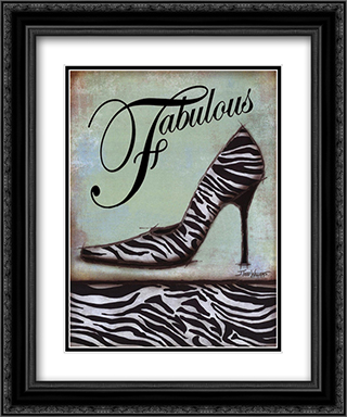 Zebra Shoe 2x Matted 15x18 Black Ornate Framed Art Print by Todd Williams