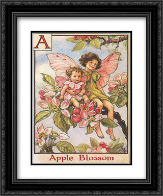 Apple Blossom Fairy 2x Matted 15x18 Black Ornate Framed Art Print by Cicely Mary Barker
