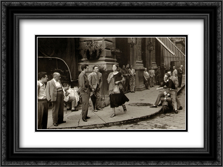 American Girl in Italy 2x Matted 18x15 Black Ornate Framed Art Print by Ruth Orkin