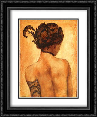 Sarah 2x Matted 16x19 Black Ornate Framed Art Print by Robert Delpomdor