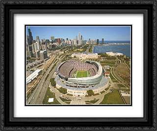 Chicago, New Soldier Field 2x Matted 14x12 Black Ornate Framed Art Print by Mike Smith