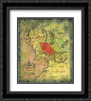 Lord of the Rings Map 2x Matted 14x12 Black Ornate Framed Art Print