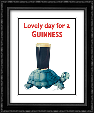 Guinness: Turtle 2x Matted 12x14 Black Ornate Framed Art Print