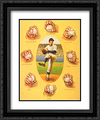 Art of the Pitch 2x Matted 15x18 Black Ornate Framed Art Print by David Marrocco