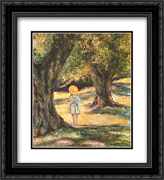 By the Olive Tree 2x Matted 15x18 Black Ornate Framed Art Print by Linda Lee