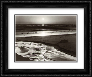Birds on a Beach 2x Matted 15x18 Black Ornate Framed Art Print by Ansel Adams