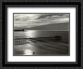 The Scripps Pier 2x Matted 18x15 Black Ornate Framed Art Print by Ansel Adams