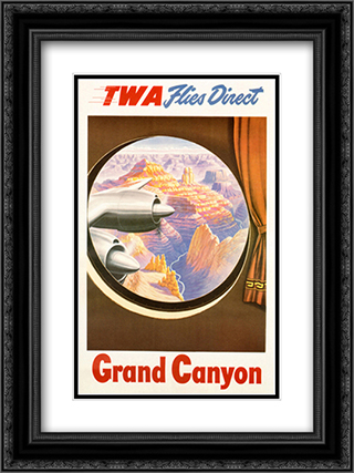 TWA to the Grand Canyon 2x Matted 15x18 Black Ornate Framed Art Print