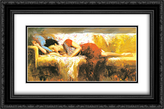 Sweet Rest 2x Matted 13x9 Black Ornate Framed Art Print by Pino Daeni