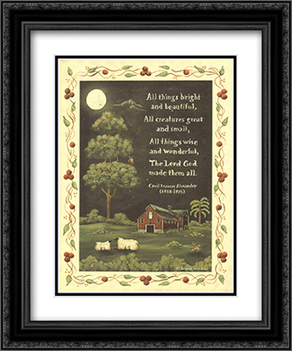 All Things Bright And Beautiful 2x Matted 15x18 Black Ornate Framed Art Print by Donna Atkins