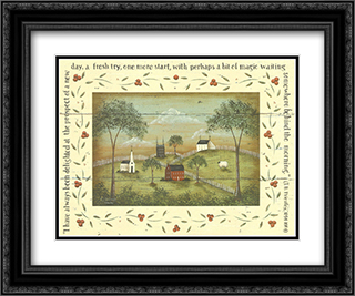A New Day 2x Matted 14x12 Black Ornate Framed Art Print by Donna Atkins