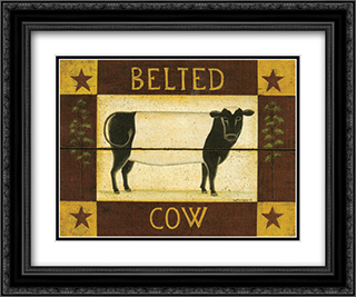 Belted Cow 2x Matted 18x15 Black Ornate Framed Art Print by Dotty Chase
