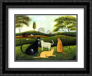 Cat Country 2x Matted 18x15 Black Ornate Framed Art Print by Dotty Chase