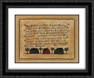 The Lord's Prayer 2x Matted 18x15 Black Ornate Framed Art Print by Lori Maphies