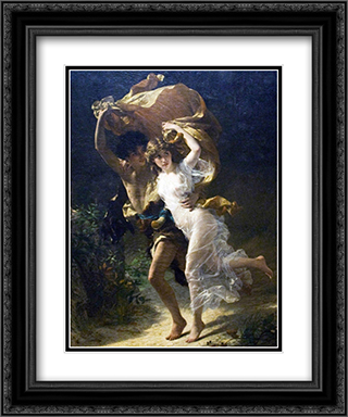 The Storm 2x Matted 15x18 Black Ornate Framed Art Print by Pierre Auguste Cot