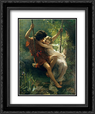 Le Printemps 2x Matted 15x18 Black Ornate Framed Art Print by Pierre Auguste Cot