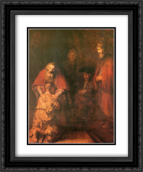 Return Of The Prodigal Son 2x Matted 15x18 Black Ornate Framed Art Print by Rembrandt
