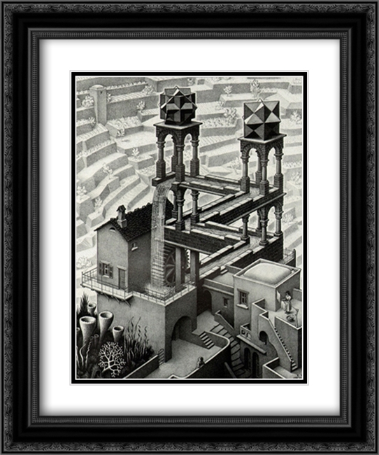 Waterfall 2x Matted 15x18 Black Ornate Framed Art Print by M.C. Escher