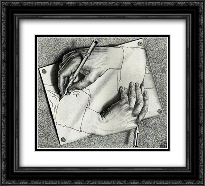 Drawing Hands 2x Matted 18x15 Black Ornate Framed Art Print by M.C. Escher