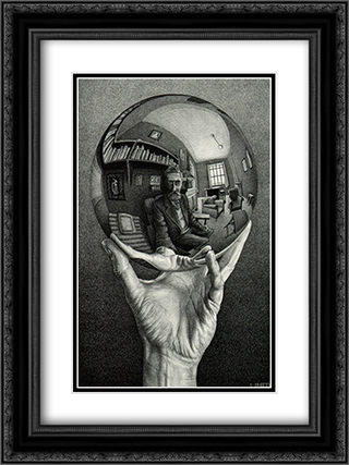 Hand with Sphere 2x Matted 15x18 Black Ornate Framed Art Print by M.C. Escher