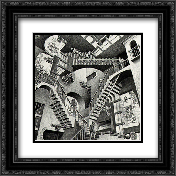 Relativity 2x Matted 18x15 Black Ornate Framed Art Print by M.C. Escher
