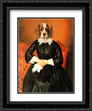 Ancestral Canine II 2x Matted 16x19 Black Ornate Framed Art Print by Thierry Poncelet