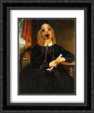 Ancestral Canine IV 2x Matted 16x19 Black Ornate Framed Art Print by Thierry Poncelet