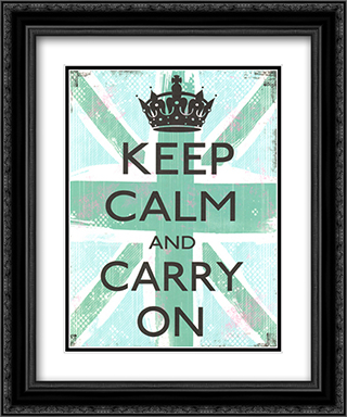 Keep Calm And Carry On 2x Matted 15x18 Black Ornate Framed Art Print by Louise Carey
